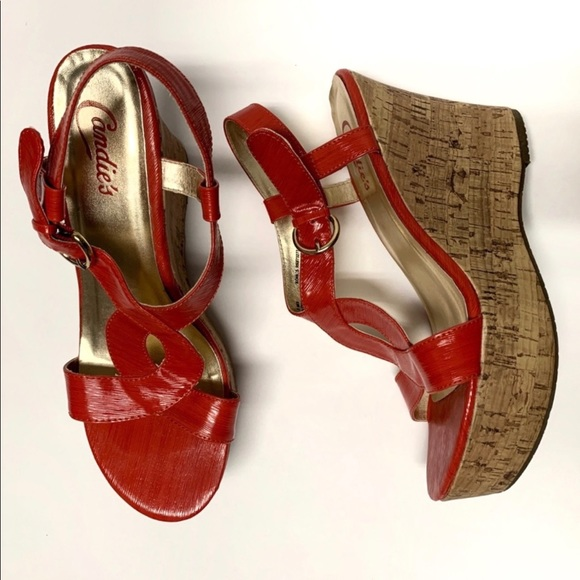 Candie's Shoes - CANDIE'S Tangerine Strap Sandal Wedges Size 8M